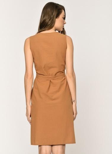 Loves You Yakası Nakış Detaylı Kolsuz Elbise Taba